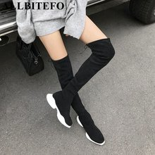 ALLBITEFO fashion soft comfortable flock flat heel platform women boots girls over the knee boots thigh high boots shoes woman