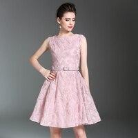 2017 Pink Tank Dresses Feminine O Neck Sleeveless Women Jacquard Dress Sashes Plus Size Vestidos De