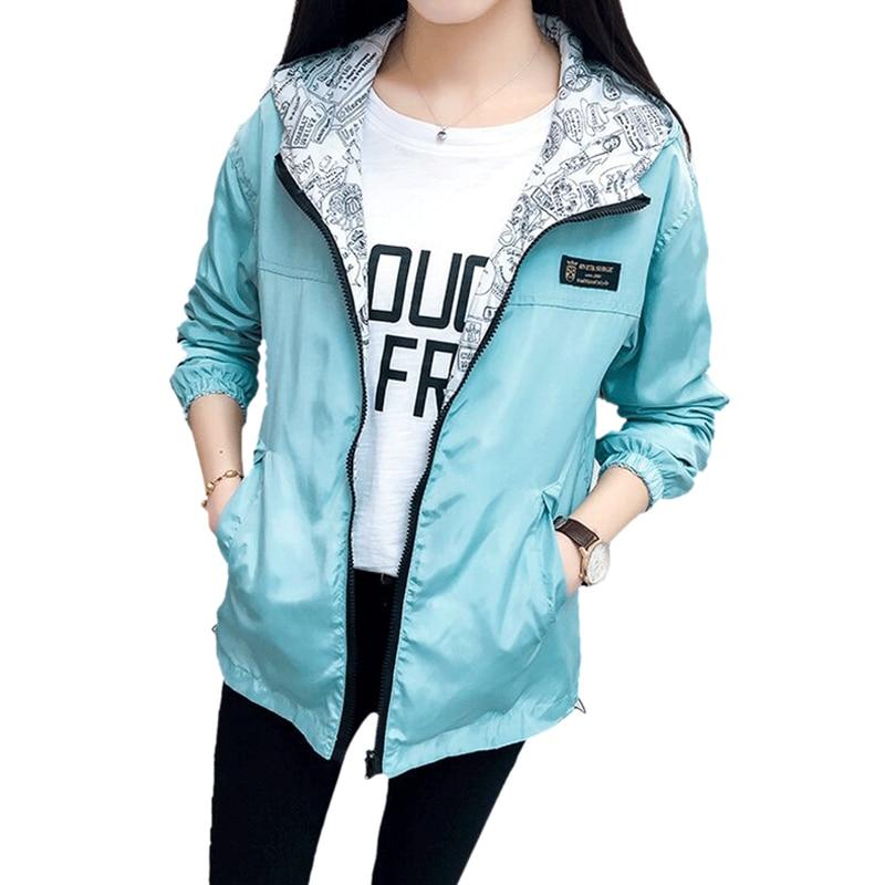 Women's Spring Autumn Casual Hooded Two Sides Wear   Trench   Coat Long Sleeve Winter Front Zipper Pockets Wind Breaker 0604-35