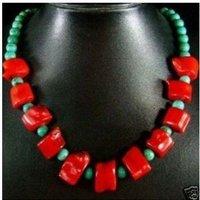 Güzel orijinal red coral & Turquoises boncuk kolye 18 '' kargo ücretsiz
