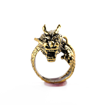 Fashion Gold Men Ring  Exaggerated Spirit Dragon Ring Personality Adjustable Split Ring Punk Hip Hop Male Female Jewelry Gift 1