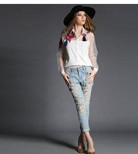 30 шт/лот Federal Express быстро корейский стиль женские кардиганы цветок вышивка цветок органза женские блузки