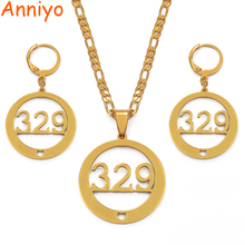 Anniyo Ebeye Island Kwajelien Atoll 329 Necklaces Earrings for Women Gold Color Jewelry Gifts/CAN NOT CUSTOMIZE NAME #035821