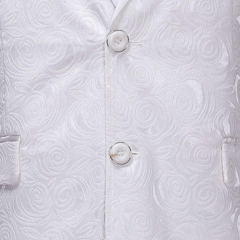 ブランド白花柄ブレザージャケット男性 2018 秋冬新固体結腸スーツブレザー男性スリムフィットウェディング新郎衣装