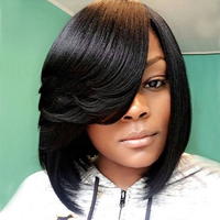 Eseewigs Short Bob Lace Front Human Hair Wigs for African American Women Natural Black Brazilian Remy Hair Lace Wig with Bangs