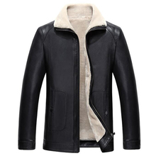 Mens Fur Leather Jacket Outwear Hot Fashion Winter Streewear Mens Fur Leather Jackets Faux Shearling Overcoat With Velvet C339