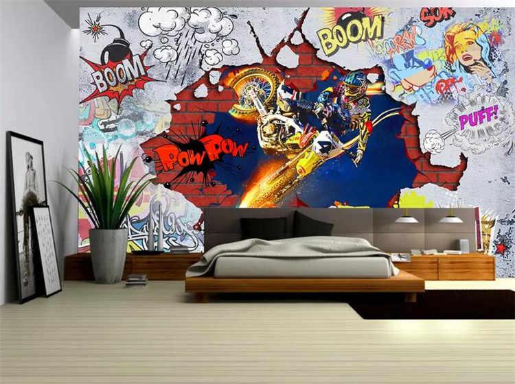 Foto Kustom 3d Wallpaper Non Woven Stiker Dinding Mural Keren Graffiti Lukisan Gambar 3d Dinding Kamar Mural Wallpaper Aliexpress