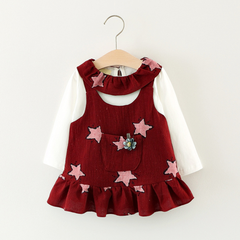 Baby Girl Clothing Set 2017 Autumn New Arrival Clothes Suit Peter Pan Collar T Shirt Ruffles Stars Dress 2pcs Princess Outwear