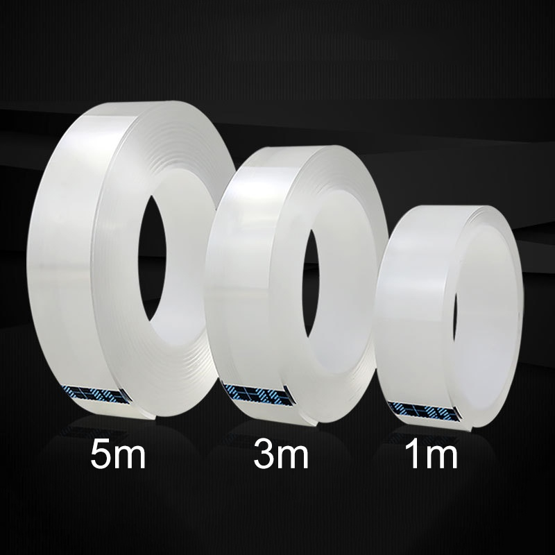 1/3/5/10M 1MM Nano Magic Tape Double Sided Tape Transparent No Trace Acrylic Waterproof Adhesive Tape Cleanable Free Shipping(China)