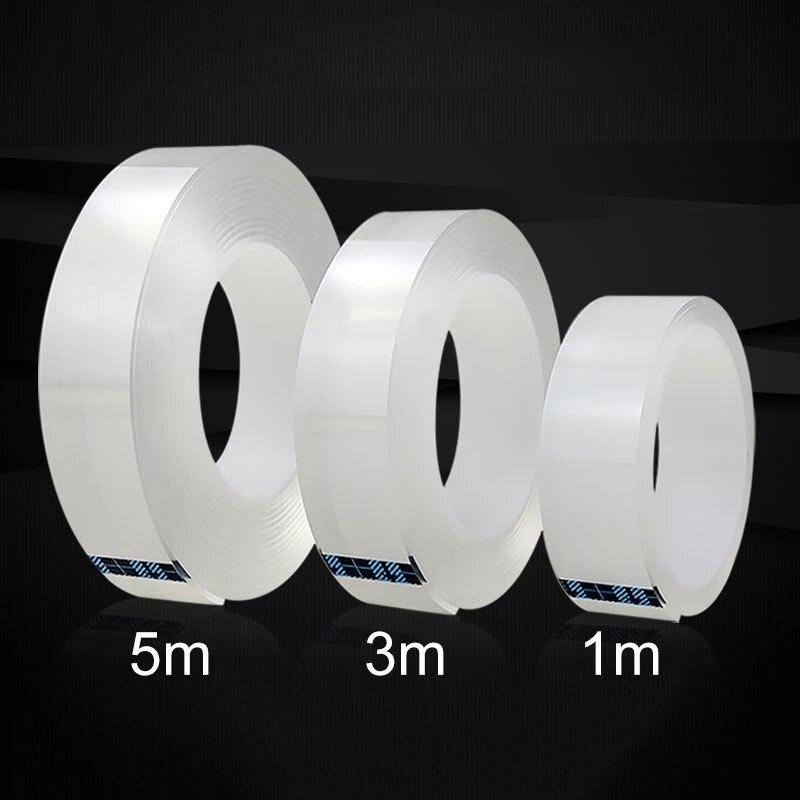 1/3/5M 1MM Nano ruban magique Double face ruban Transparent sans Trace acrylique réutilisation ruban adhésif étanche nettoyable livraison gratuite