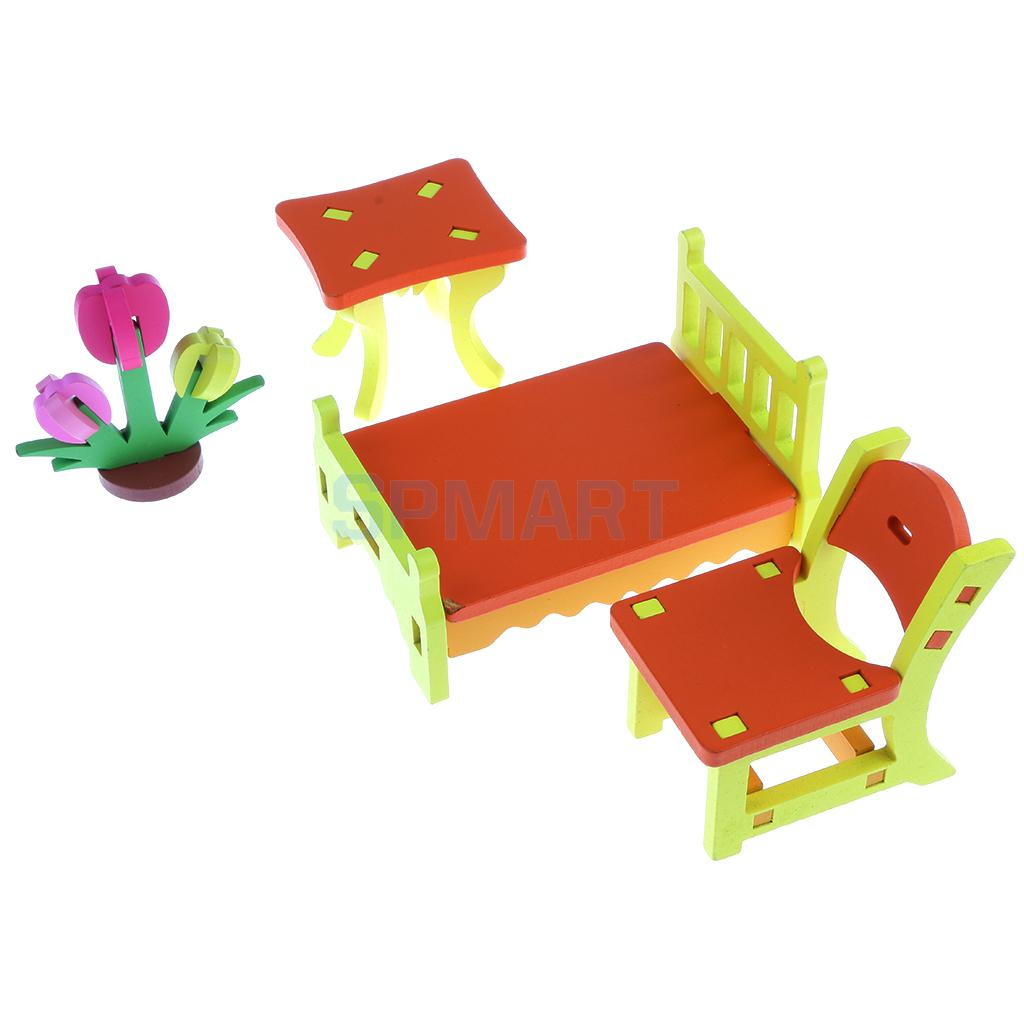 Kids Bedroom Furniture Kids Wooden Toys Online: Colorful 3D Wood Puzzle Bedroom Furniture Set Model