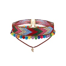 Olsen Twins 2017 New Bohemian Ethnic Woven Fabric Choker Necklace with Pompom Ball Tassel Two Layer Collar Necklace Bijoux