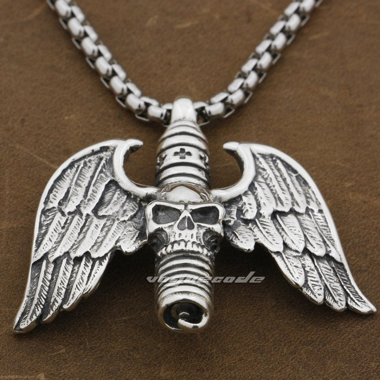 925 Sterling Silver Skull Cross Wing Mens Biker Rocker Pendant 9F028A(Necklace 24inch) skull cross bone solid 925 sterling silver mens biker pendant 8c010 necklace 24inch