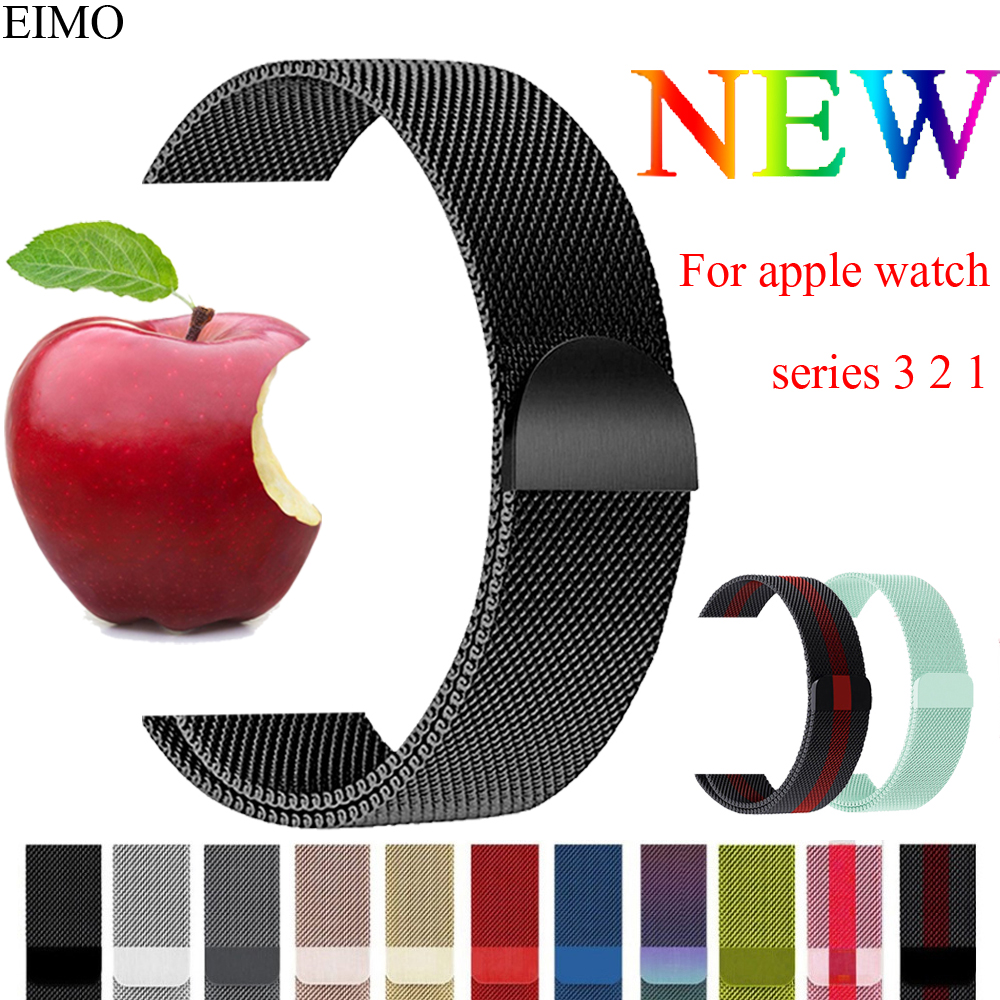 EIMO Space Black Milanese Loop Band Strap For Apple Watch band 42mm/38mm iwatch 3 2 1 Stainless Steel Bracelet Watchband Red milanese loop watch strap men link bracelet stainless steel woven black for apple watchband 42mm 38mm iwatch free tools
