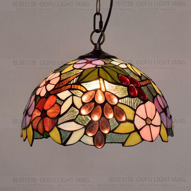 12 дюймовый Тиффани барокко винограда ретро витражи подвесной светильник ресторан спальня гостиная коридор крыльцо висит лампа