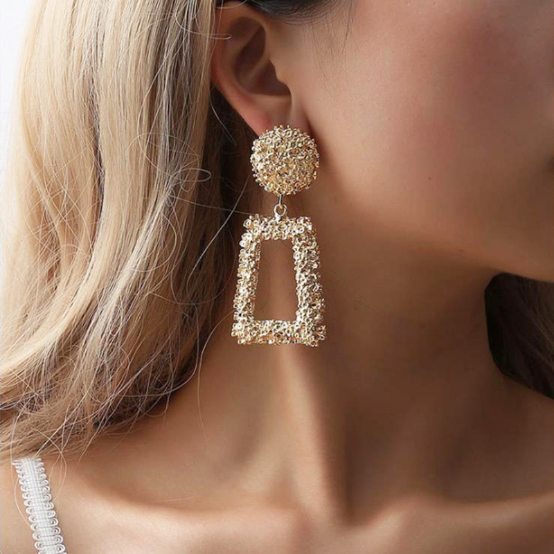 5bc4c071bda95 Fashion Jewelry Big Vintage Earrings for Women Gold Silver Color Geometric  Statement Earring Metal Earing Hanging Pendientes