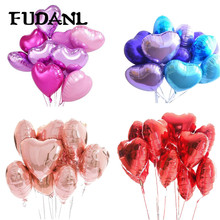 18inch 10pcs Wedding Party Foil Balloon Pink&Red Heart Shaped Helium Air Ballon Baby Shower Birthday Decoration Balloons