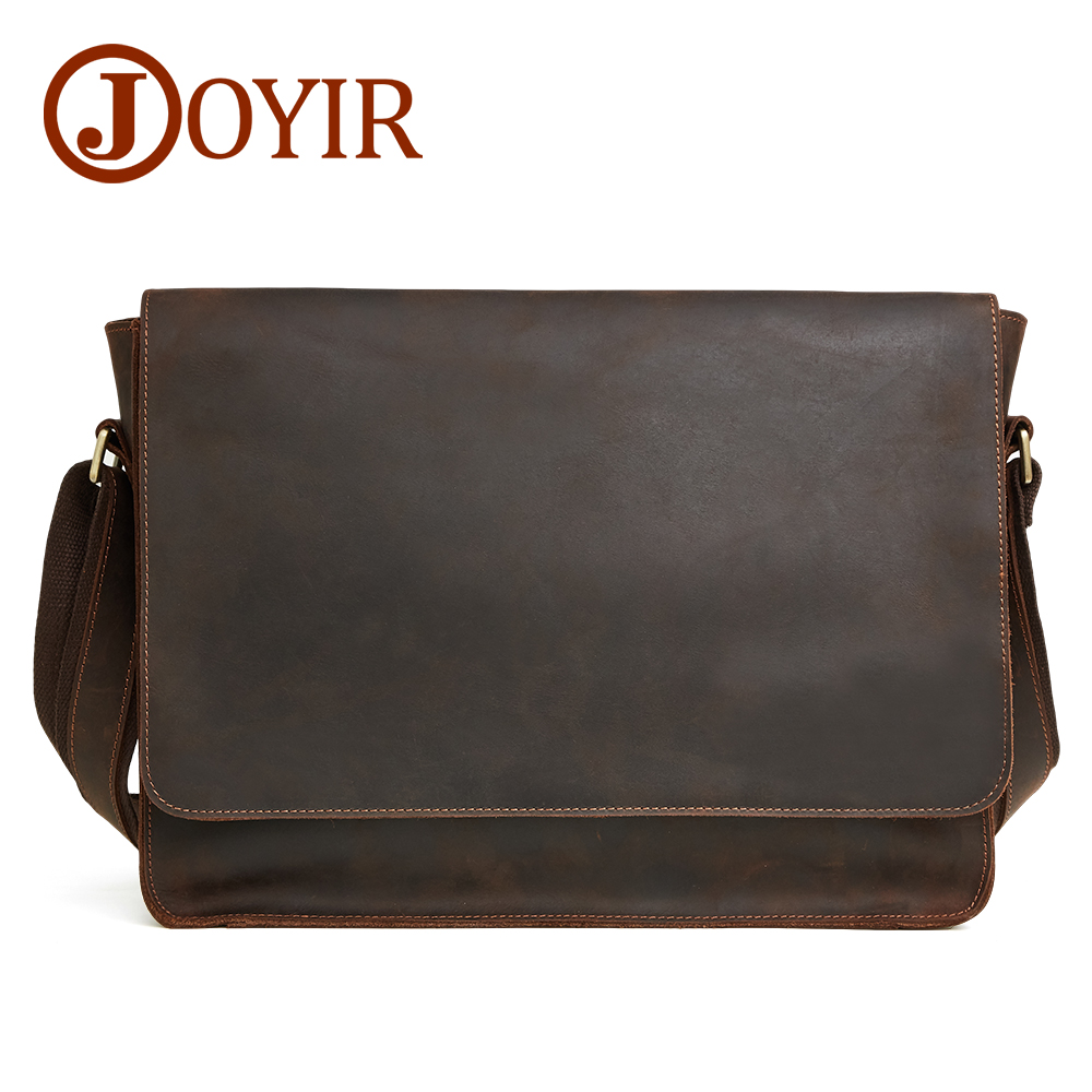 JOYIR 2019 Crazy Horse Genuine Leather Men Messenger Bag Shoulder Bags Leather Crossbody Travel Bag Vintage