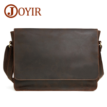JOYIR 2019 Crazy Horse Genuine Leather Men Messenger Bag Shoulder Bags Crossbody Travel Vintage Handbag For 6322