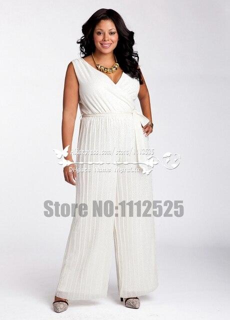 Awp 1100 Plus Size Chiffon Wedding Jumpsuit Dress For Beach