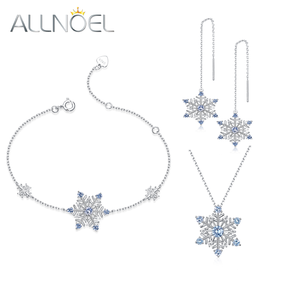 ALLNOEL Jewelry Sets 925 Sterling Silver  Natural Blue Spinel Snowflake Necklace&Earrings&Bracelet Jewelry Party Sets For WomenALLNOEL Jewelry Sets 925 Sterling Silver  Natural Blue Spinel Snowflake Necklace&Earrings&Bracelet Jewelry Party Sets For Women