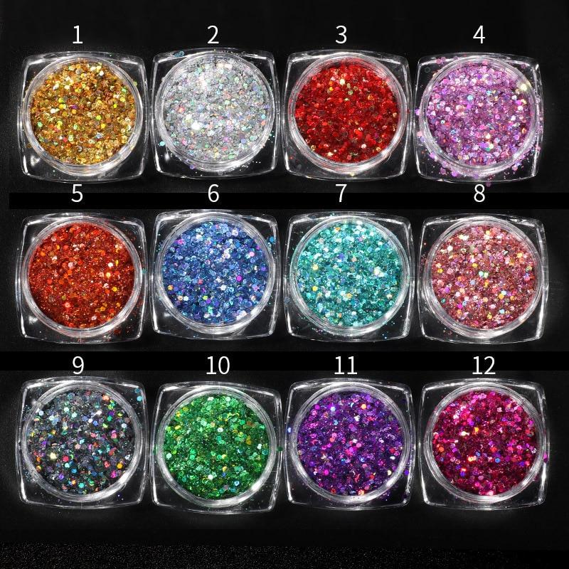 1pot Laser Mermaid Hexagon Sequins Ultra Thin Nail Art Glitters Shiny Holo  Flakes 3d Manicure UV 628d765f41b2