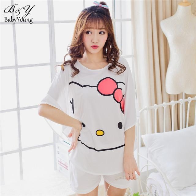 Korean Cartoon Printing Pyjamas Women Milk Silk Bat Sleeve Summer Short Sleeve Pajamas Ladies Short-Sleeved Pijamas Mujer
