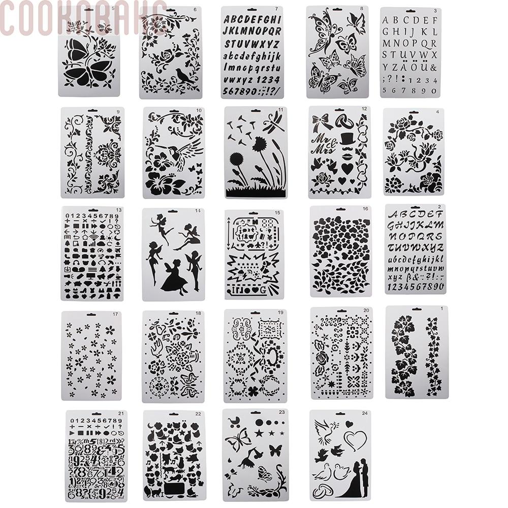 Cookncuire bricolage dessin peinture pochoirs échelle graphiques pochoirs pour enfants création Scrapbooking carte lot de 24 PL-054