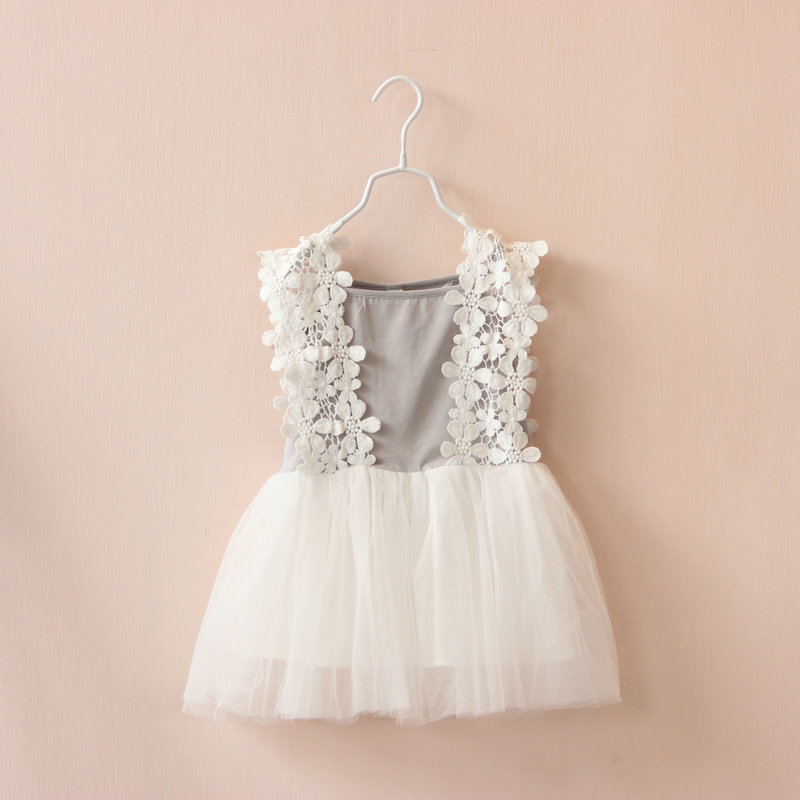 fe5df8026 2015 Appliques Petal Lace Stitching Girls Dress Baby Girls Summer ...