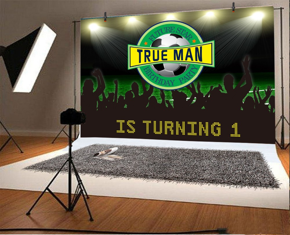 Laeacco Cartoon Football Baby Boy 1st Birthday Party Photography Backgrounds Customized Photographic Backdrops For Photo Studio