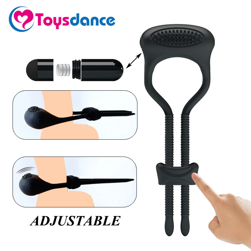 Buy Toysdance Silicone Vibrating Cock Rings Male Time Delay Lasting Adjustable Penis Ring Sex Toys Couples Clitoral Vibrator