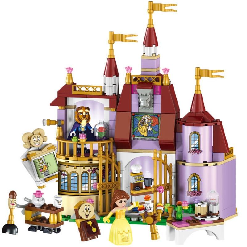 New 379 Pcs Dream Princess Belles Magic Enchanted Castle Building Blocks Beautiful Beast Model Set Gift Toys For Children