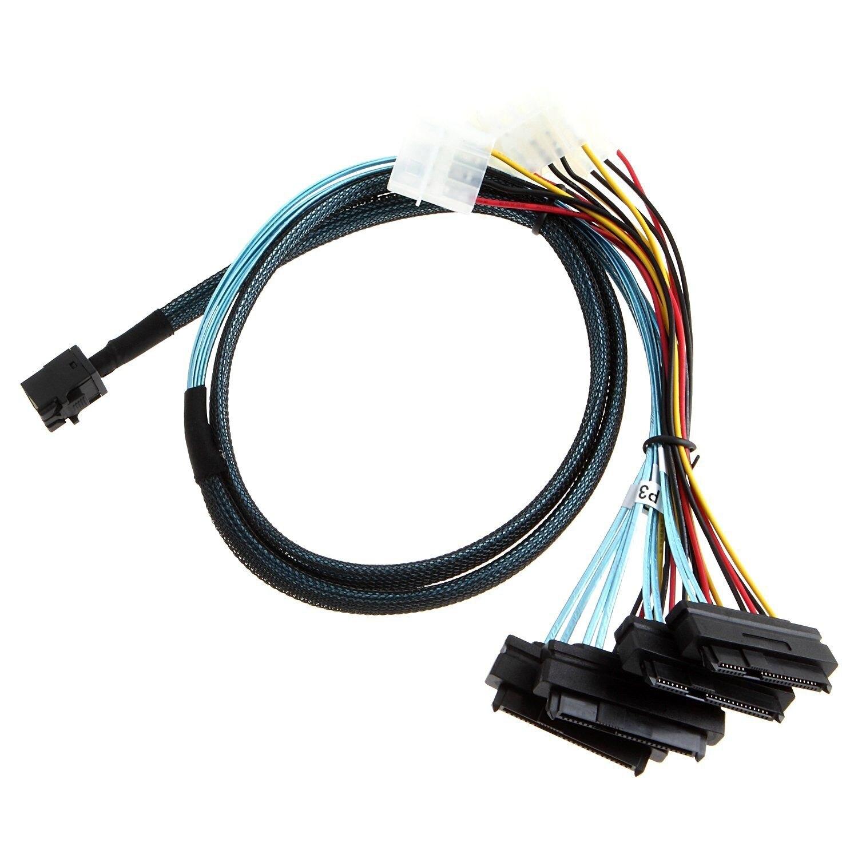Internal Mini SAS SFF-8643 to (4) 29pin SFF-8482 connectors with SATA Power ,1M elektrostandard светильник на грунт elektrostandard atlas s glyf 2010s черное золото 4690389042850