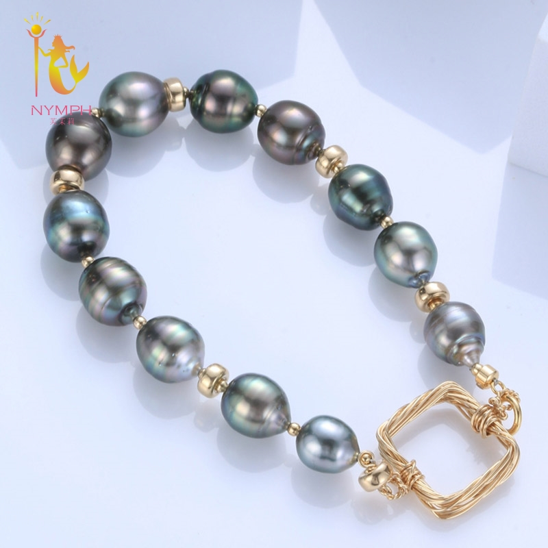 [NYMPH] Natural Baroque Pearl Bracelets Pearl Jewelry Natural Freshwater Pearl Bracelet For Women S318 [nymph] pearl bracelets natural pearl jewelry baroque natural fresh water pearl bracelet for women s311