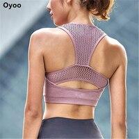 Oyoo High Impact Shockproof Sports Running Bra Women Pink Net Yarn Yoga Bra Breathable Fitness Tank