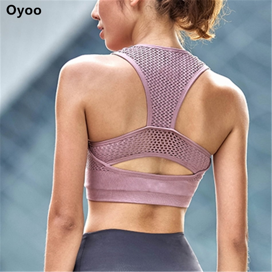 Oyoo Shockproof High Impact Pink Sports Bra Women Net Yarn Padded Yoga Bra Breathable Fitness Tank Top Cropped Gym Clothing