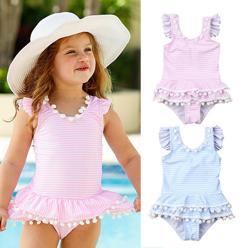 Bow Swimsuit Bikini Beachwear Ruffle Girls Newborn Kids Striped Cute