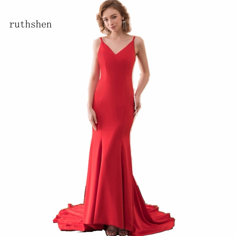 ruthshen Robe De Soiree Longue Mermaid Evening Dresses 2018 Ruched Red Evening Dress Formal Gowns Vestido
