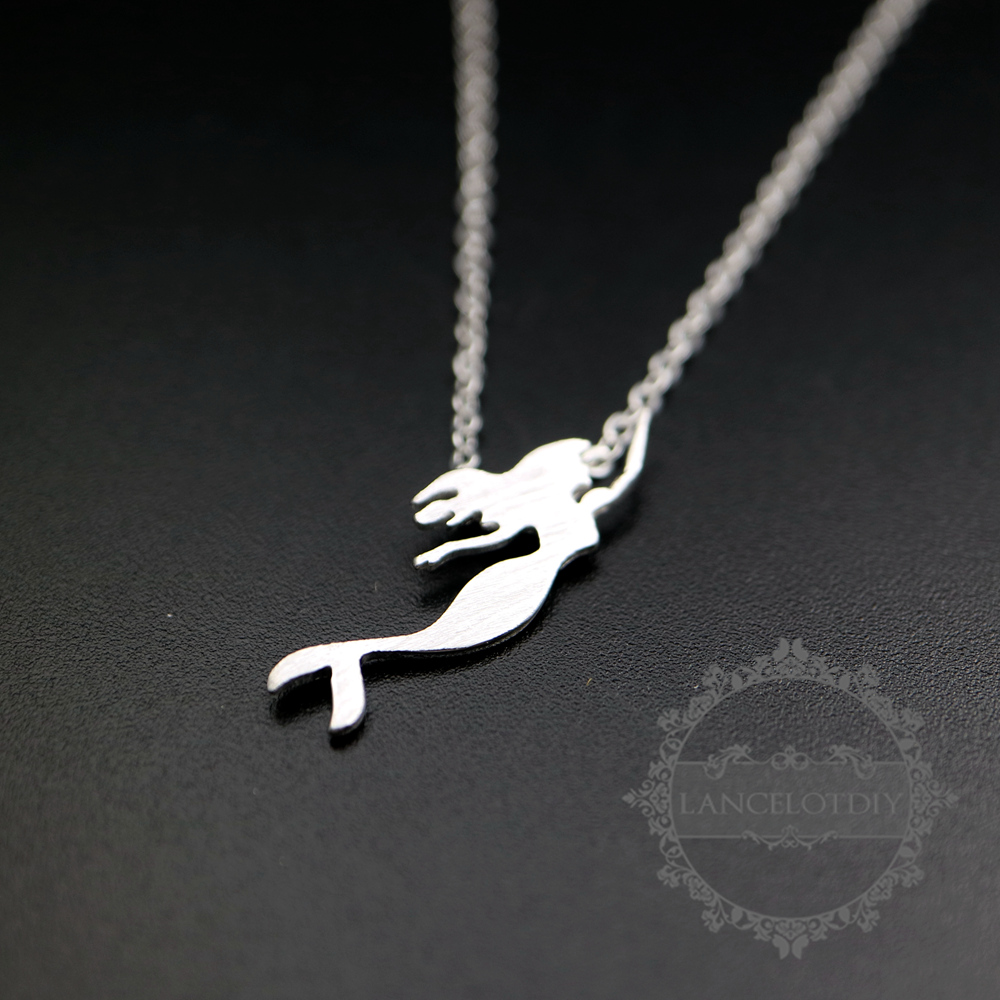 7x25mm 925 sterling silver mermaid pendant charm fashion women chorker necklace 42cm long with extension 6360499