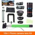 10in1 Universal 8X de Zoom Telescópio Lentes 3in1 Olho de Peixe Grande Angular Macro lente grampos de selfie vara tripé para iphone 4 5 6 s 7 além de