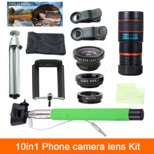 Universal 10in1 8X Zoom Telescope Lenses 3in1 Fish Eye Wide Angle Macro Lens Selfie Stick Clips Tripod For iPhone 4 5 6 S 7 Plus