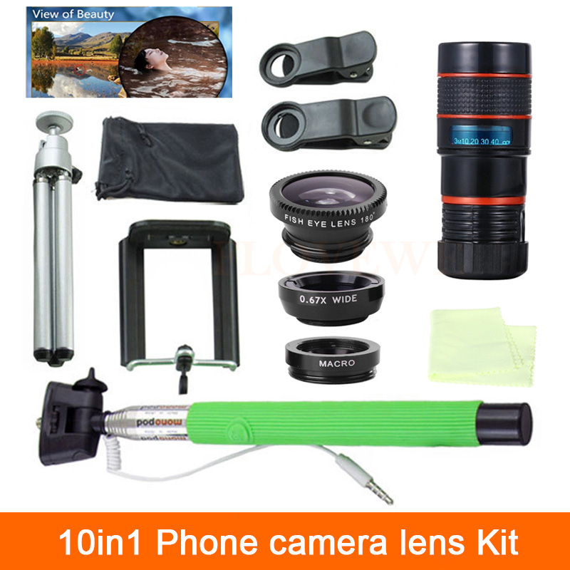 bilder für Universal 10in1 8X Zoom Teleskop Linsen 3in1 Fischauge Weitwinkel Makro objektiv Selfie Stick Clips Stativ Für iPhone 4 5 6 S 7 Plus