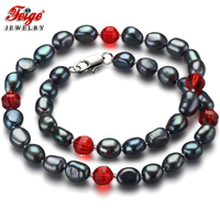 Feige Special Offer Trendy Style Baroque 7 8MM Black Freshwater Pearl Necklace For Women S Red