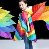 Chubasqueros de arco iris para niños Yuding, chaquetas impermeables de poliéster para niños, chaquetas con capucha para exteriores, chubasquero para niñas, Poncho