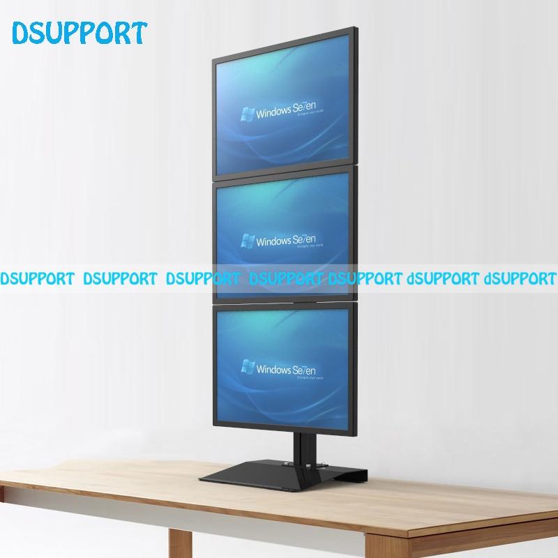 S036 Desktop Stand / Floor Stand Full Motion Vertical Arrangement Triple Screen Monitor Holder