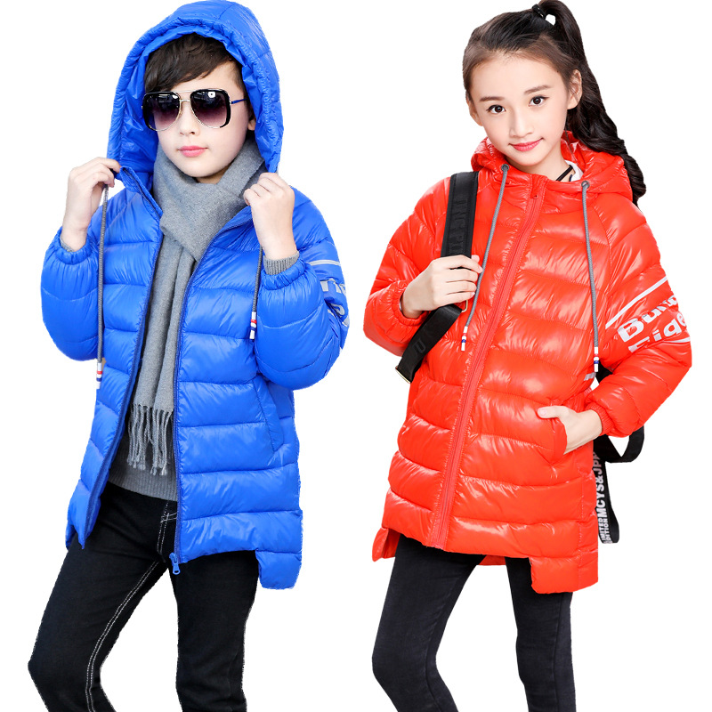 Boys & Girls Winter Parkas Jacket Winter Hooded Jacket Coat Casual Letters Printed Students Long Outerwears все цены