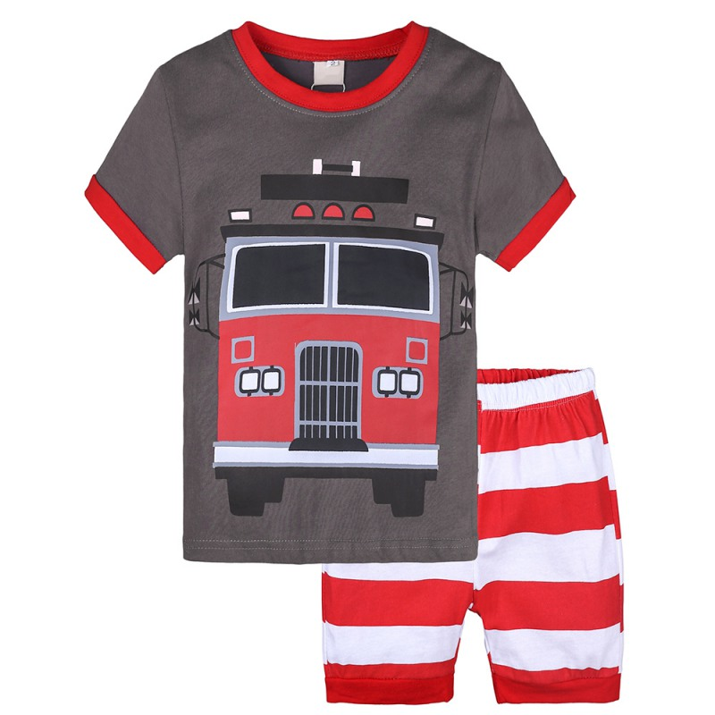 Kids Boys Sets Summer Boys Sets Clothes T Shirt+short Pants Cotton Sports Fire Truck Printed Set Children Suit For 1-7t M Beautiful In Colour Back To Search Resultsmother & Kids