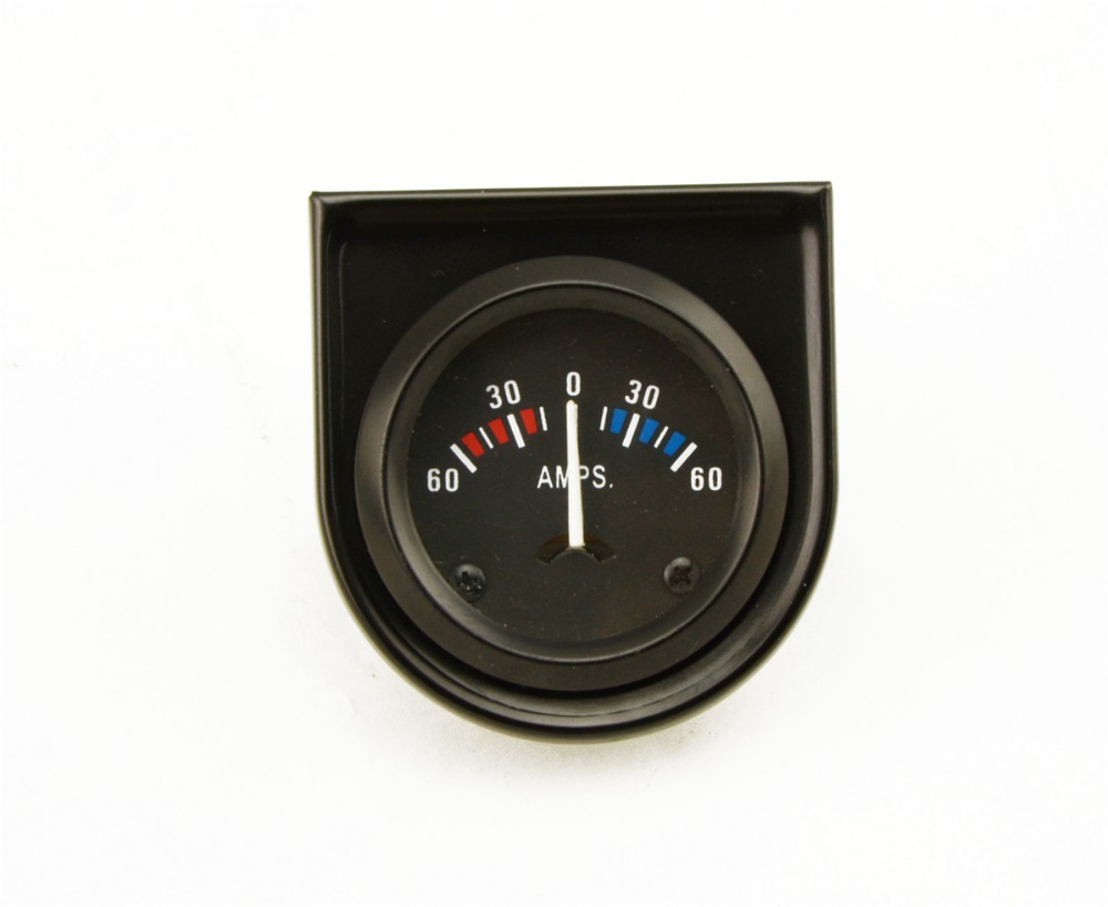 """2/"""" inch 52mm Auto Car AMPS 60-0-60A Ammeter White LED Light AMPS Gauge Meter"""