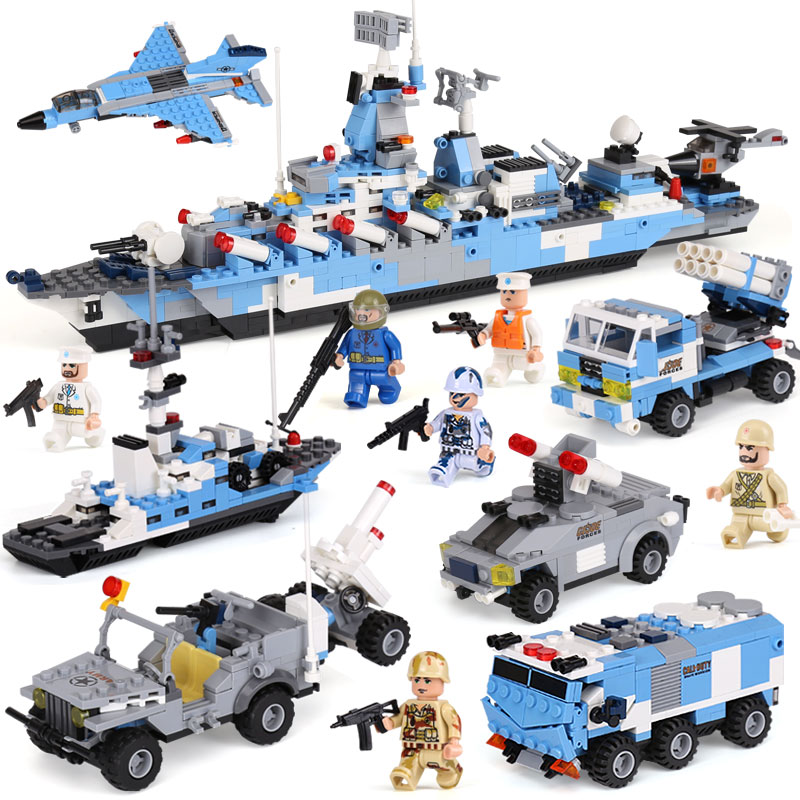 Actuals XIPOO 1233Pcs 6 IN 1 Military Series Blue Whale Cruisers Model Building Blocks Bricks Sets Educational Gift Toys for Kid xipoo 6 in 1 blue military ship diy model building blocks bricks sets educational gift toys for children boy friends