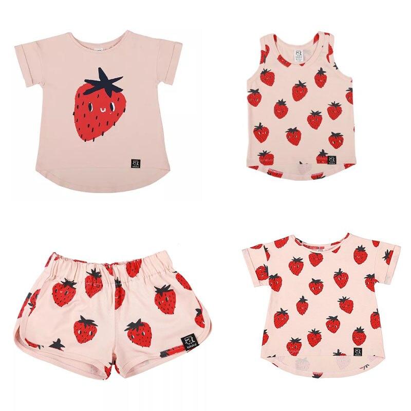 Enkelibb Strawberry-Pattern T-Shirt Toddler Clothing Poland Design Kids Baby-Boy/girls